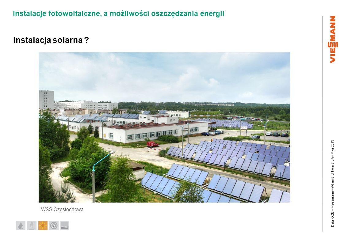 Dział OZE – Viessmann – Adam Eichhorn EicA – Ryn 2013 Instalacje fotowoltaiczne, a możliwości oszczędzania energii WSS Częstochowa Instalacja solarna ?