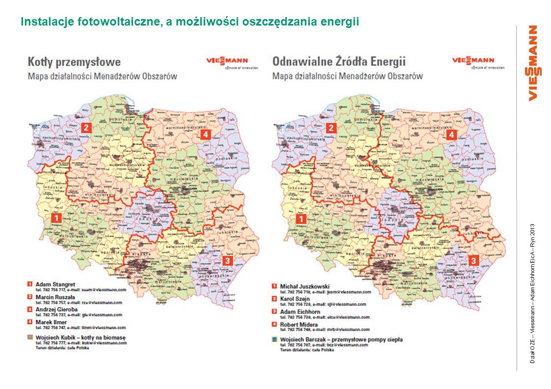 Dział OZE – Viessmann – Adam Eichhorn EicA – Ryn 2013 Instalacje fotowoltaiczne, a możliwości oszczędzania energii