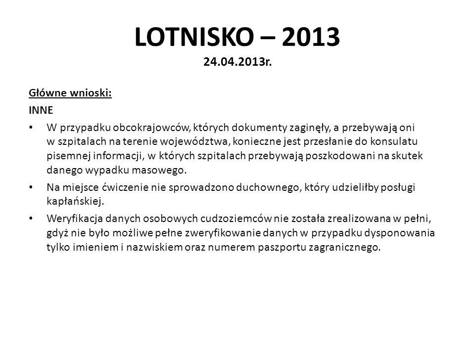 LOTNISKO – 2013 24.04.2013r. Główne wnioski: INNE W przypadku obcokrajowców, których dokumenty zaginęły, a przebywają oni w szpitalach na terenie woje