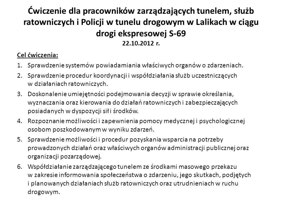 Ćwiczenie dla pracowników zarządzających tunelem, służb ratowniczych i Policji w tunelu drogowym w Lalikach w ciągu drogi ekspresowej S-69 22.10.2012 r.