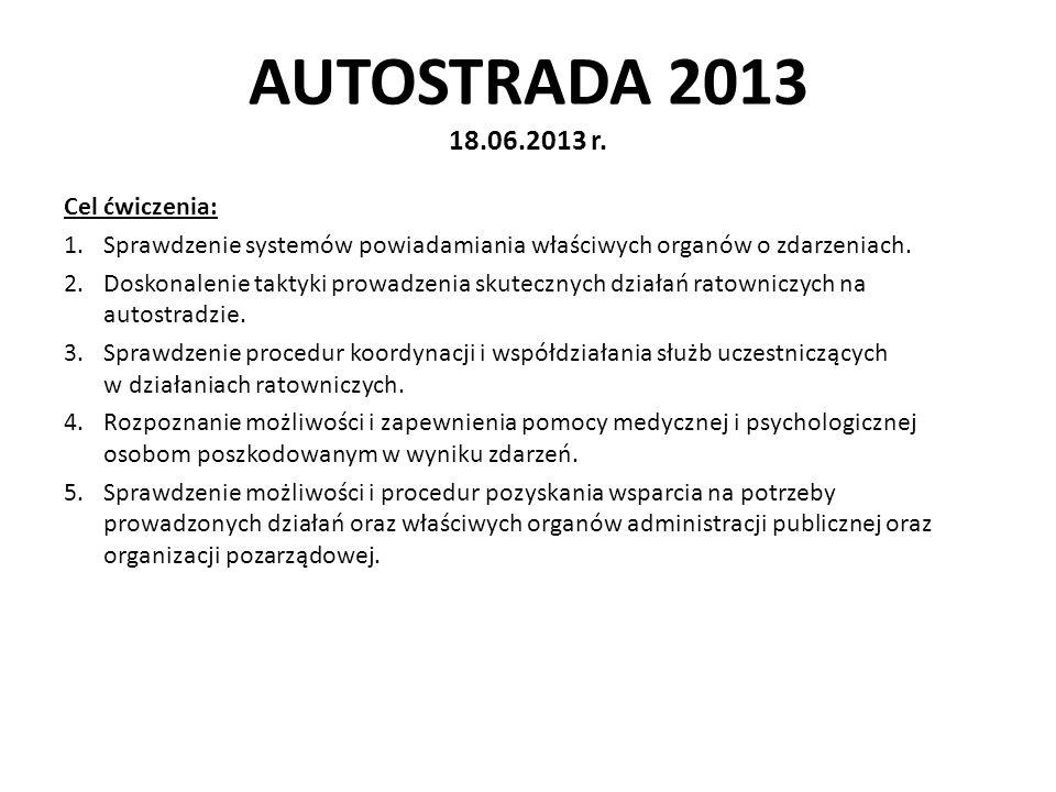 AUTOSTRADA 2013 18.06.2013 r. Cel ćwiczenia: 1.Sprawdzenie systemów powiadamiania właściwych organów o zdarzeniach. 2.Doskonalenie taktyki prowadzenia