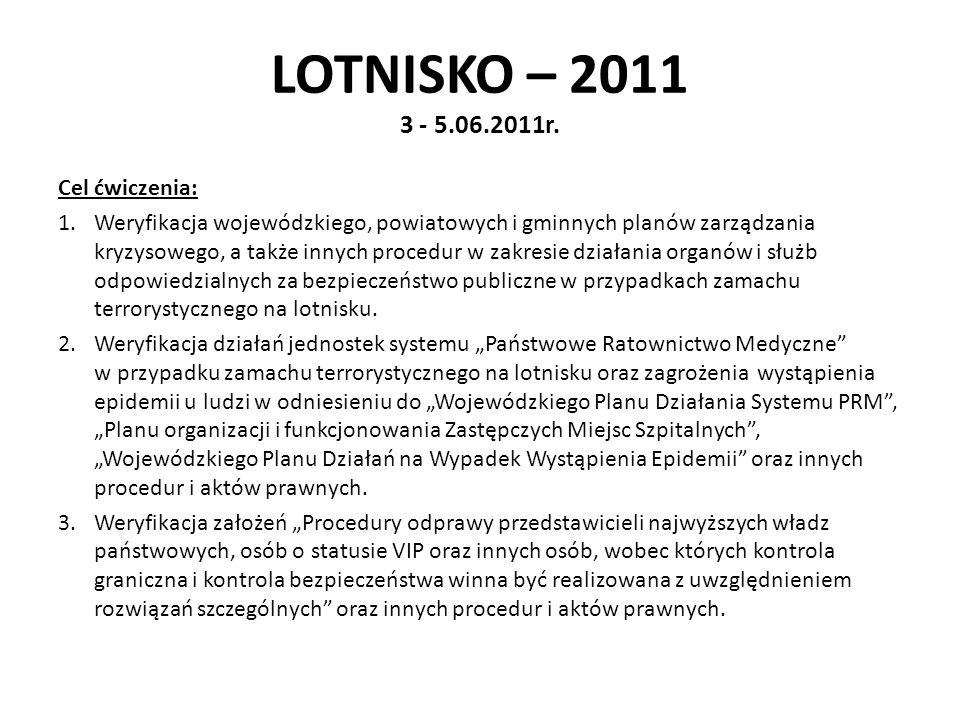 LOTNISKO – 2011 3 - 5.06.2011r. Cel ćwiczenia: 1.Weryfikacja wojewódzkiego, powiatowych i gminnych planów zarządzania kryzysowego, a także innych proc