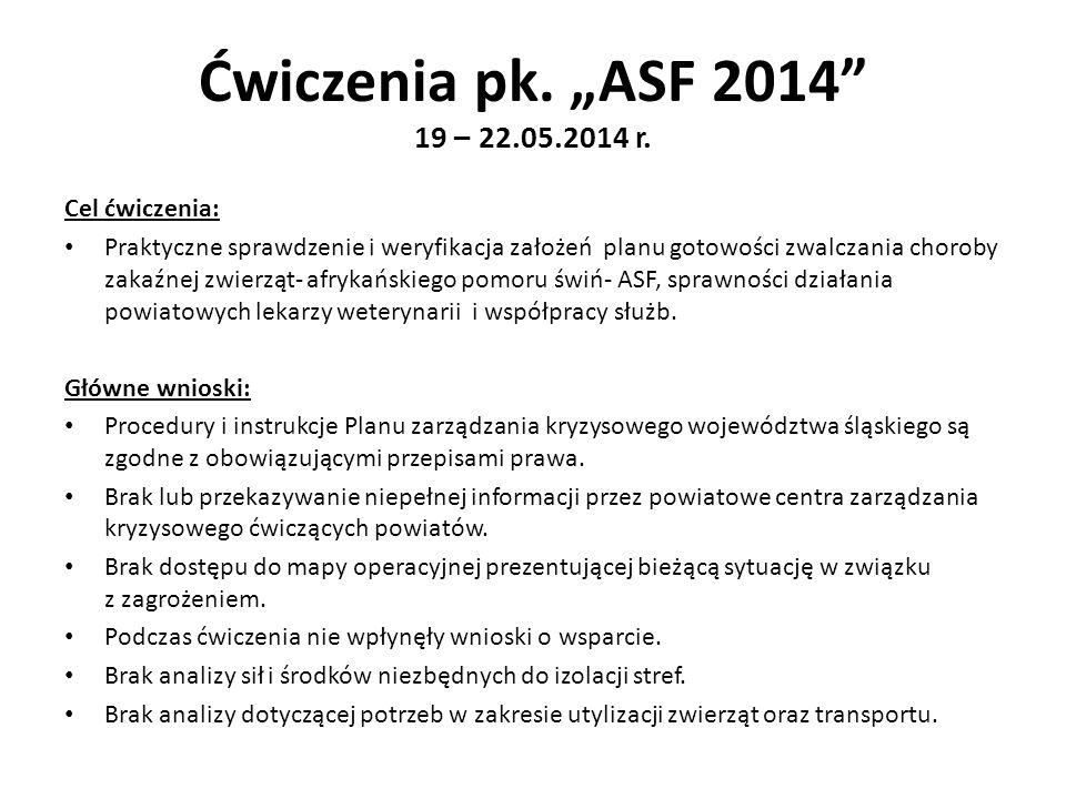 """Ćwiczenia pk. """"ASF 2014"""" 19 – 22.05.2014 r. Cel ćwiczenia: Praktyczne sprawdzenie i weryfikacja założeń planu gotowości zwalczania choroby zakaźnej zw"""