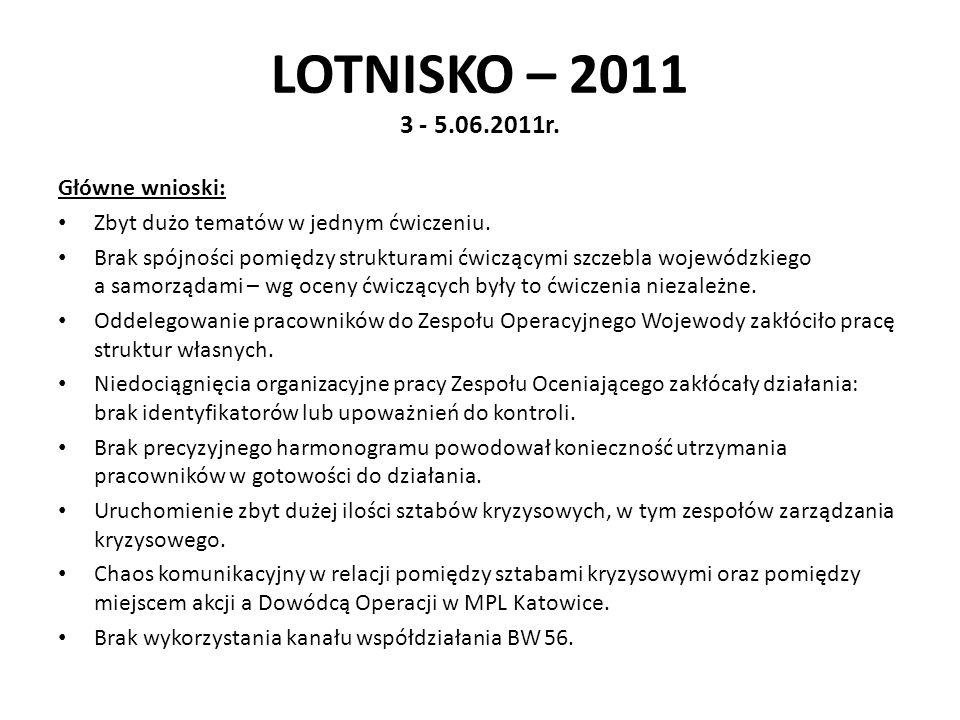 LOTNISKO – 2011 3 - 5.06.2011r. Główne wnioski: Zbyt dużo tematów w jednym ćwiczeniu. Brak spójności pomiędzy strukturami ćwiczącymi szczebla wojewódz