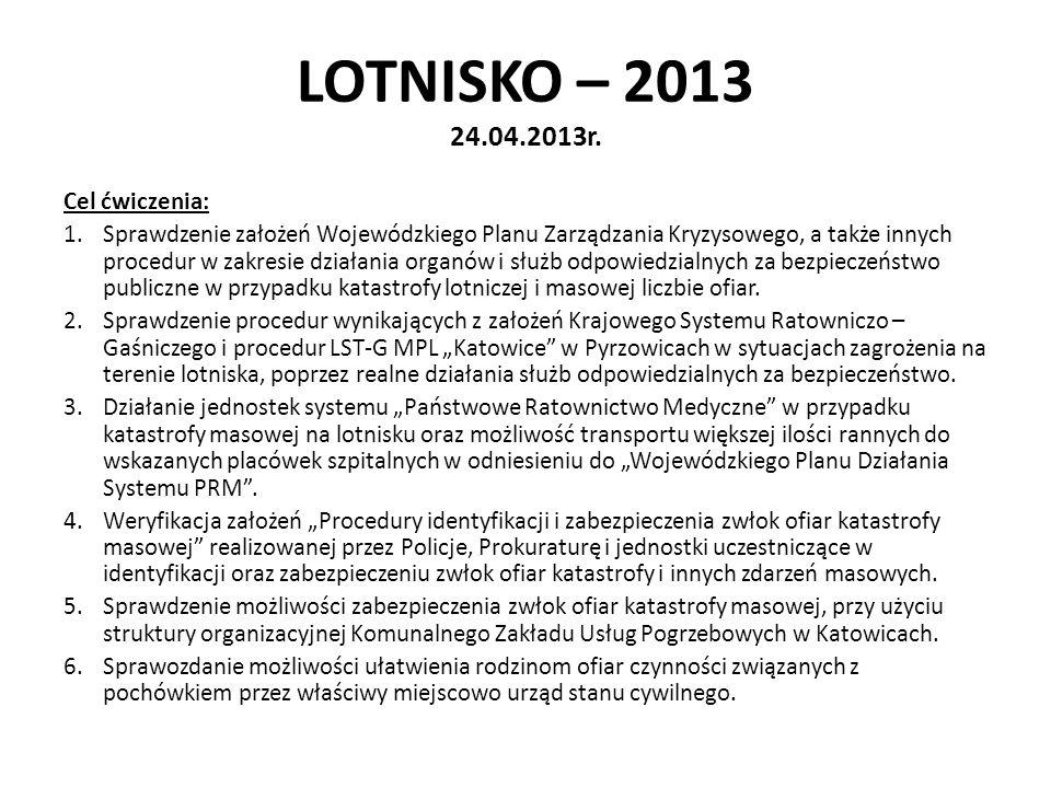 LOTNISKO – 2013 24.04.2013r. Cel ćwiczenia: 1.Sprawdzenie założeń Wojewódzkiego Planu Zarządzania Kryzysowego, a także innych procedur w zakresie dzia