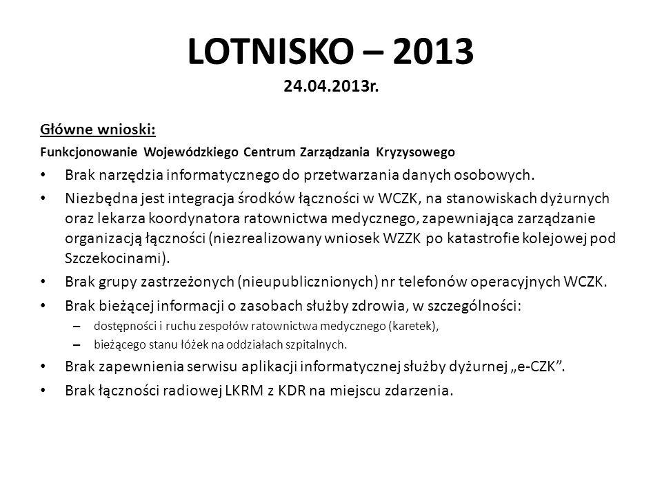LOTNISKO – 2013 24.04.2013r. Główne wnioski: Funkcjonowanie Wojewódzkiego Centrum Zarządzania Kryzysowego Brak narzędzia informatycznego do przetwarza