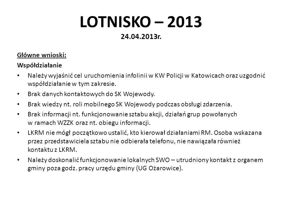 LOTNISKO – 2013 24.04.2013r. Główne wnioski: Współdziałanie Należy wyjaśnić cel uruchomienia infolinii w KW Policji w Katowicach oraz uzgodnić współdz