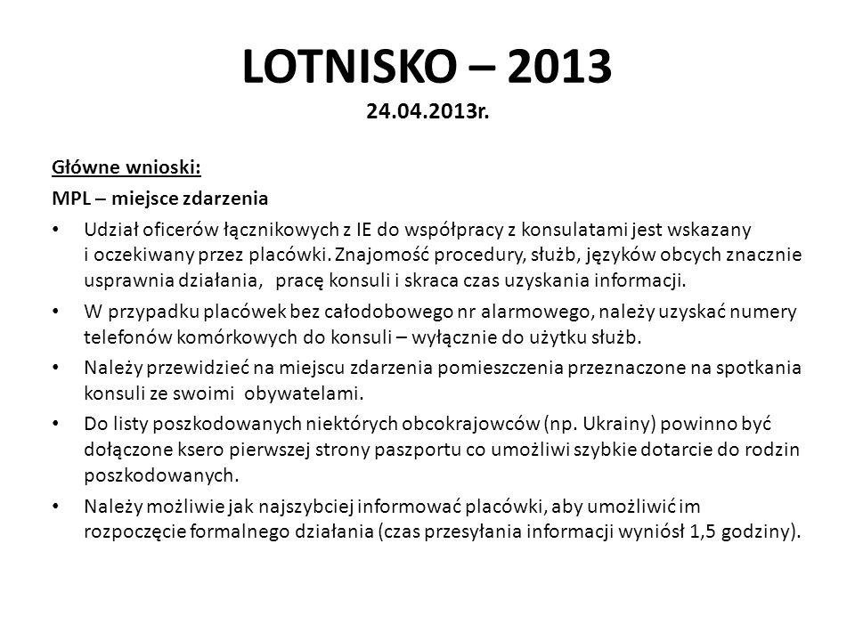 LOTNISKO – 2013 24.04.2013r. Główne wnioski: MPL – miejsce zdarzenia Udział oficerów łącznikowych z IE do współpracy z konsulatami jest wskazany i ocz