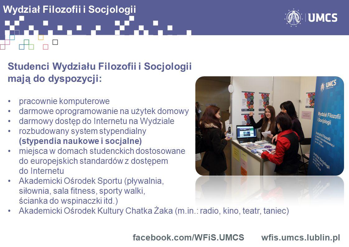Studenci Wydziału Filozofii i Socjologii mają do dyspozycji: pracownie komputerowe darmowe oprogramowanie na użytek domowy darmowy dostęp do Internetu