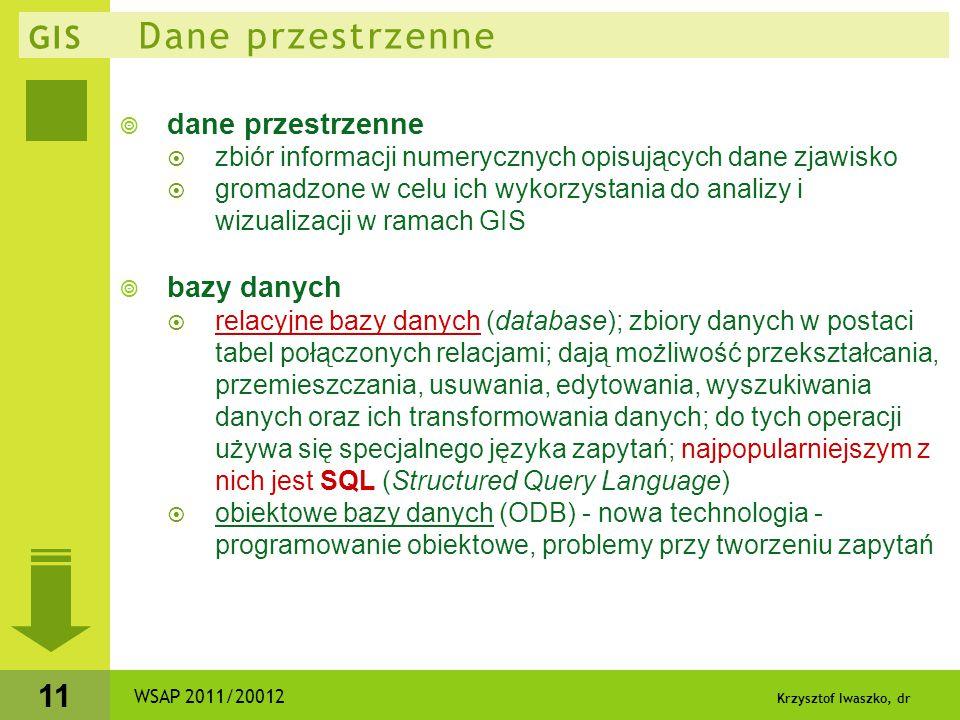 Krzysztof Iwaszko, dr 11 GIS Dane przestrzenne  dane przestrzenne  zbiór informacji numerycznych opisujących dane zjawisko  gromadzone w celu ich w