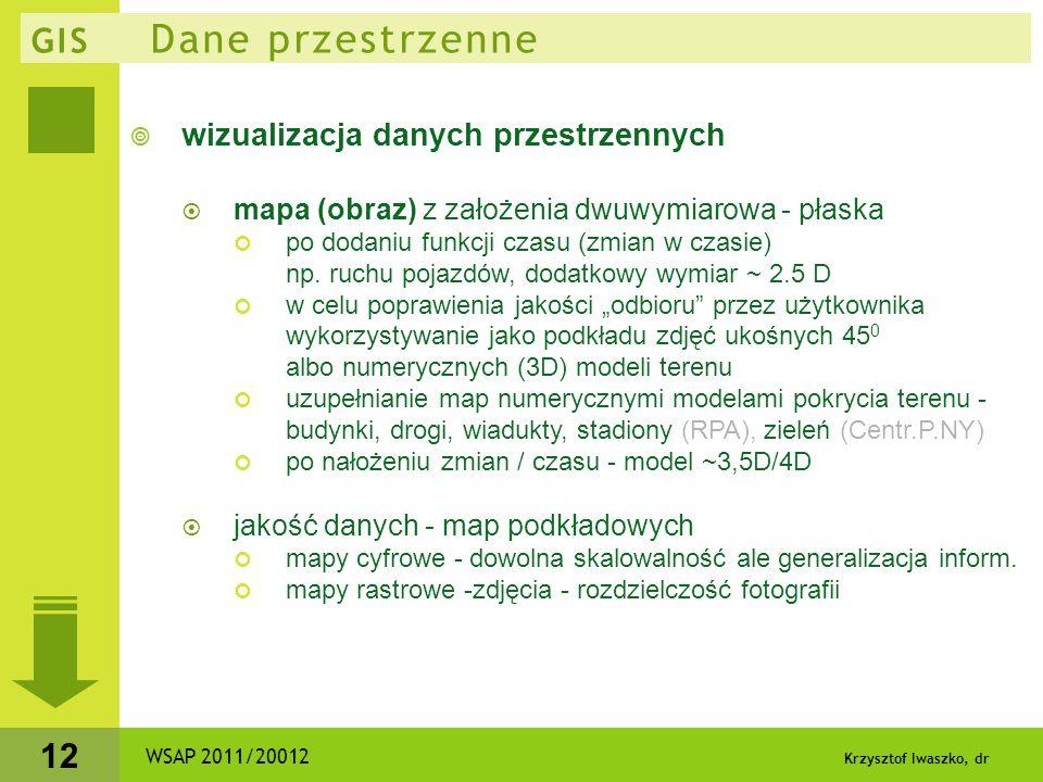 Krzysztof Iwaszko, dr 12 GIS Dane przestrzenne  wizualizacja danych przestrzennych  mapa (obraz) z założenia dwuwymiarowa - płaska po dodaniu funkcj