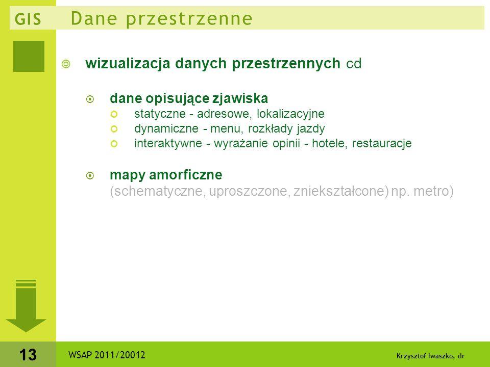 Krzysztof Iwaszko, dr 13 GIS Dane przestrzenne  wizualizacja danych przestrzennych cd  dane opisujące zjawiska statyczne - adresowe, lokalizacyjne d