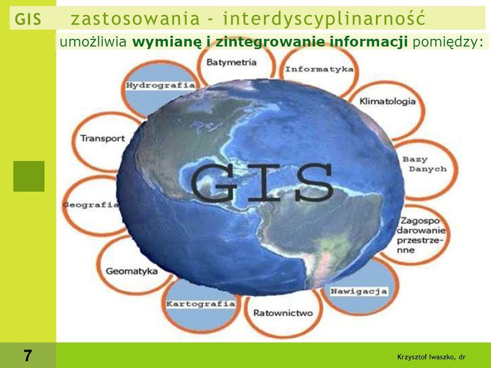 Krzysztof Iwaszko, dr 8 GIS zastosowania - interdyscyplinarność  bezpieczeństwo - możliwość szybkiego podejmowania decyzji - główny powód wdrożenia aplikacji GIS  główne dziedziny - sektory:  administracja (najczęściej po powodzi, huraganie itp.) zarządzanie nieruchomościami, gruntami, zagospodarowanie oraz planowanie przestrzenne, podejmowanie decyzji prawnych, administracyjnych, lokalizacyjnych ewidencja, obsługa mieszkańców opieka zdrowotna (rozmieszczenie - lokalizacja usług) ale i analiza przestrzenne wpływu różnych czynników na zdrowie mieszkańców zarządzanie kryzysowe - patrz niżej  służby szybkiego reagowania automatyczna lokalizacja zgłoszenia tel.