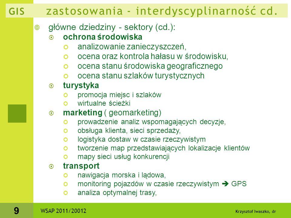 Krzysztof Iwaszko, dr 9 GIS zastosowania - interdyscyplinarność cd.  główne dziedziny - sektory (cd.):  ochrona środowiska analizowanie zanieczyszcz