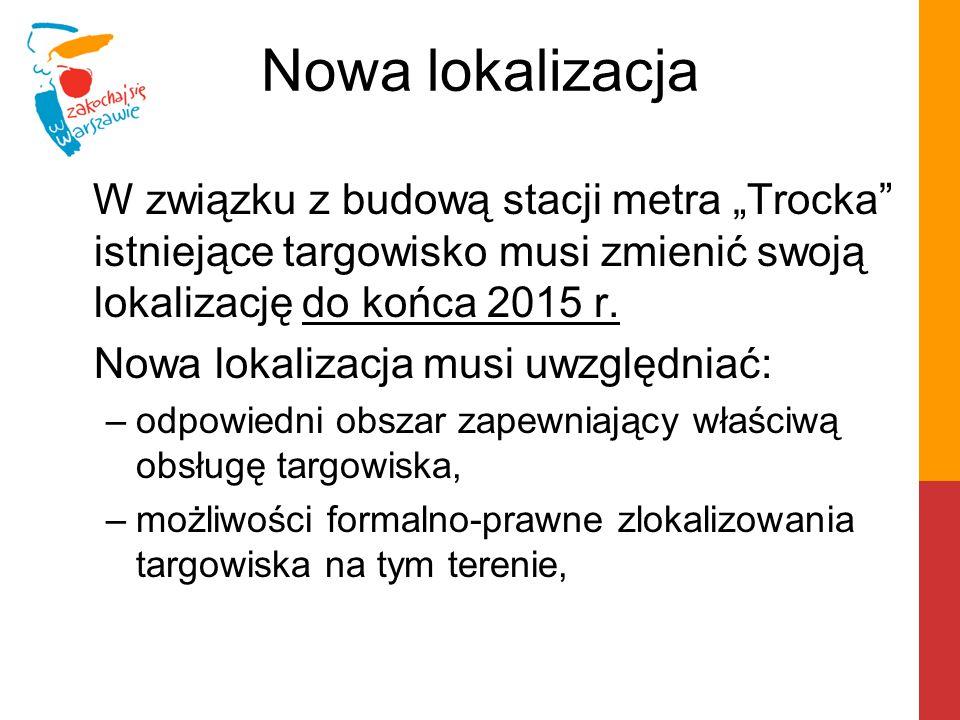 """Nowa lokalizacja W związku z budową stacji metra """"Trocka"""" istniejące targowisko musi zmienić swoją lokalizację do końca 2015 r. Nowa lokalizacja musi"""