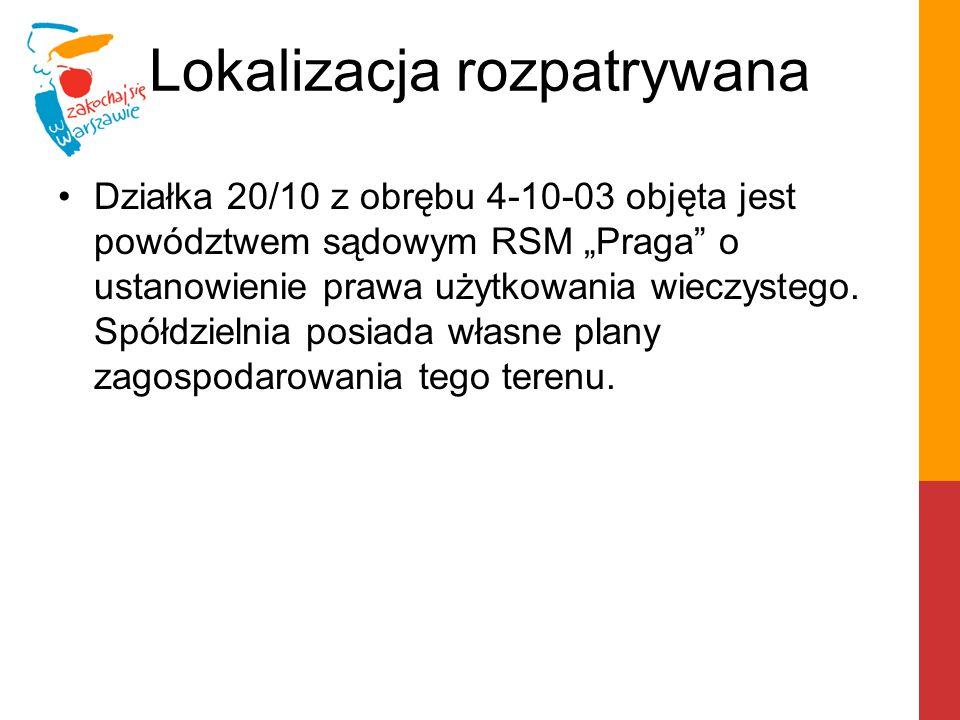 """Działka 20/10 z obrębu 4-10-03 objęta jest powództwem sądowym RSM """"Praga"""" o ustanowienie prawa użytkowania wieczystego. Spółdzielnia posiada własne pl"""