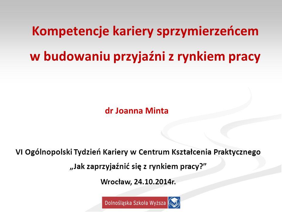 Kompetencje kariery sprzymierzeńcem w budowaniu przyjaźni z rynkiem pracy dr Joanna Minta VI Ogólnopolski Tydzień Kariery w Centrum Kształcenia Prakty