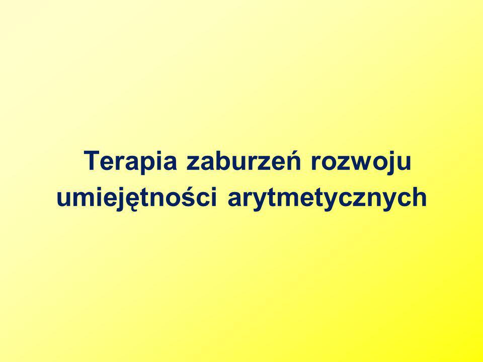BIBLIOGRAFIA: U.Oszwa, Zaburzenia rozwoju umiejętności arytmetycznych, Kraków 2006.