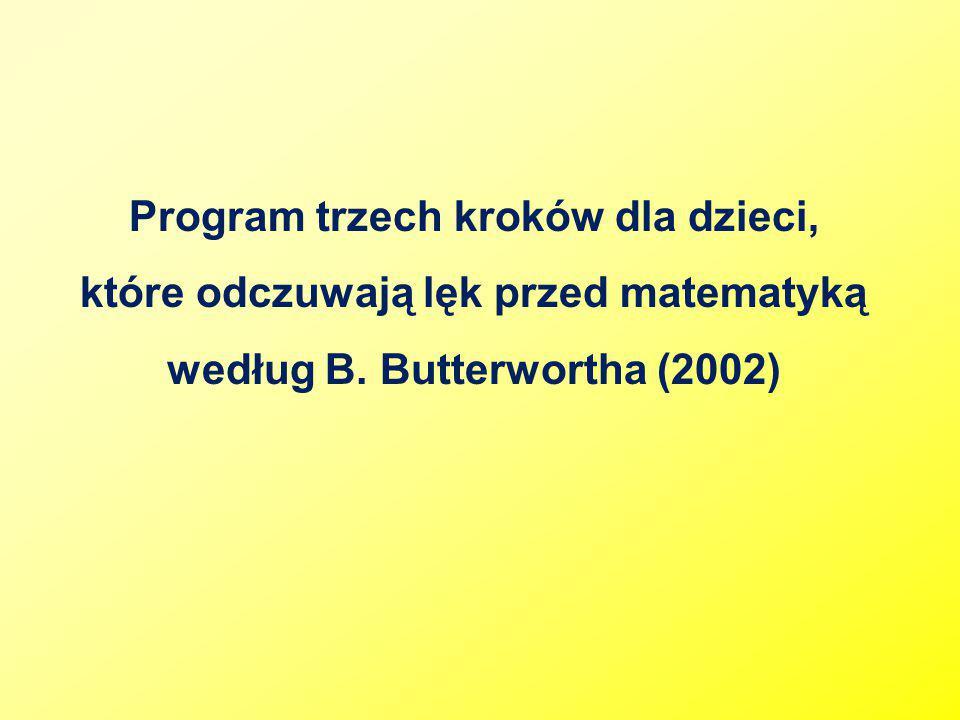 Program trzech kroków dla dzieci, które odczuwają lęk przed matematyką według B. Butterwortha (2002)