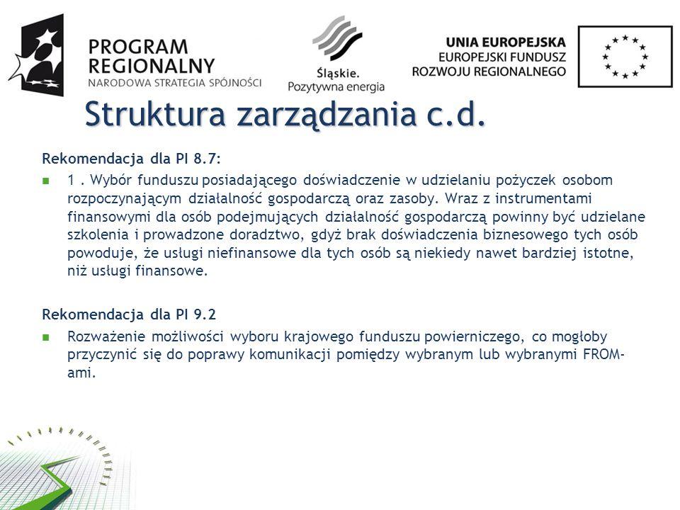 Struktura zarządzania c.d.Rekomendacja dla PI 8.7: 1.