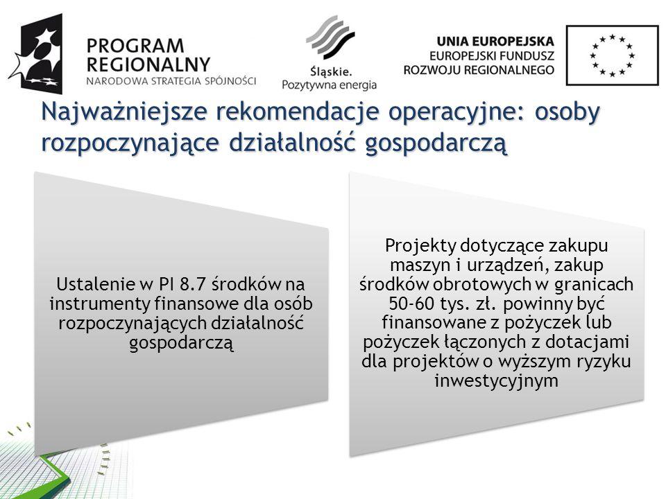 Najważniejsze rekomendacje operacyjne: osoby rozpoczynające działalność gospodarczą Ustalenie w PI 8.7 środków na instrumenty finansowe dla osób rozpoczynających działalność gospodarczą Projekty dotyczące zakupu maszyn i urządzeń, zakup środków obrotowych w granicach 50-60 tys.