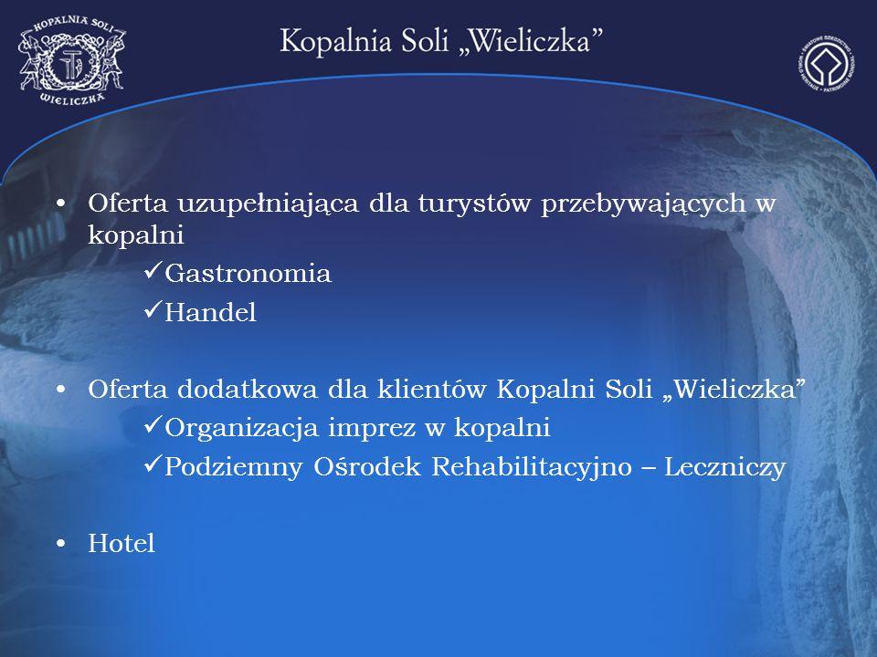 """Oferta uzupełniająca dla turystów przebywających w kopalni Gastronomia Handel Oferta dodatkowa dla klientów Kopalni Soli """"Wieliczka"""" Organizacja impre"""