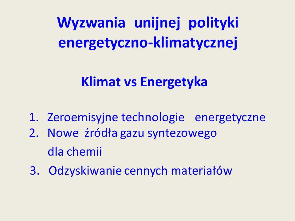 Wyzwania unijnej polityki energetyczno-klimatycznej Klimat vs Energetyka 1.Zeroemisyjne technologie energetyczne 2. Nowe źródła gazu syntezowego dla c