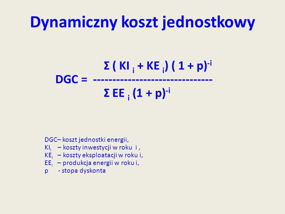 Dynamiczny koszt jednostkowy Σ ( KI i + KE i ) ( 1 + p) -i DGC = ------------------------------- Σ EE i (1 + p) -i DGC– koszt jednostki energii, KI i