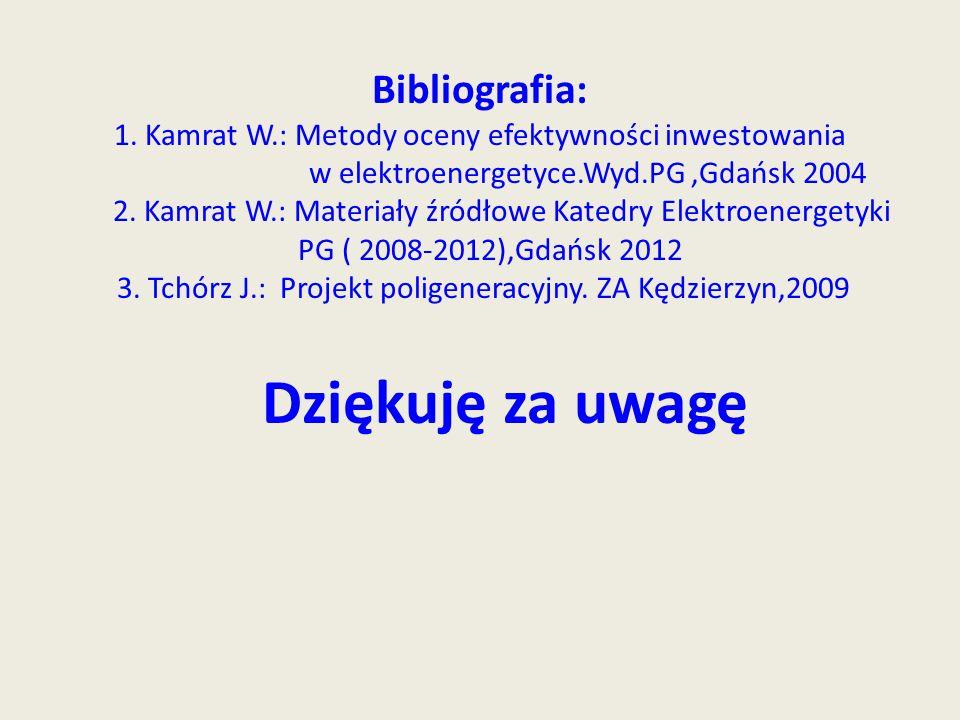 Bibliografia: 1. Kamrat W.: Metody oceny efektywności inwestowania w elektroenergetyce.Wyd.PG,Gdańsk 2004 2. Kamrat W.: Materiały źródłowe Katedry Ele