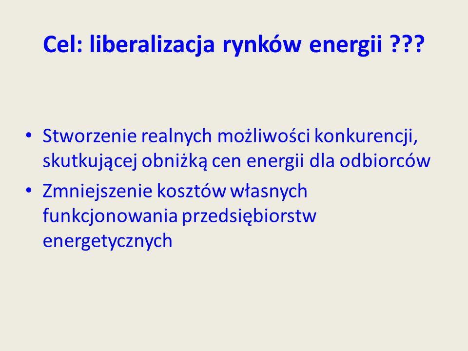 Cel: liberalizacja rynków energii ??? Stworzenie realnych możliwości konkurencji, skutkującej obniżką cen energii dla odbiorców Zmniejszenie kosztów w