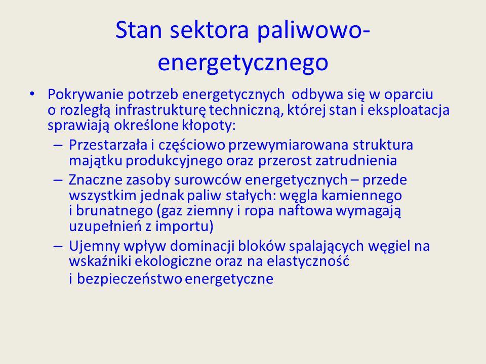 Stan sektora paliwowo- energetycznego Pokrywanie potrzeb energetycznych odbywa się w oparciu o rozległą infrastrukturę techniczną, której stan i ekspl