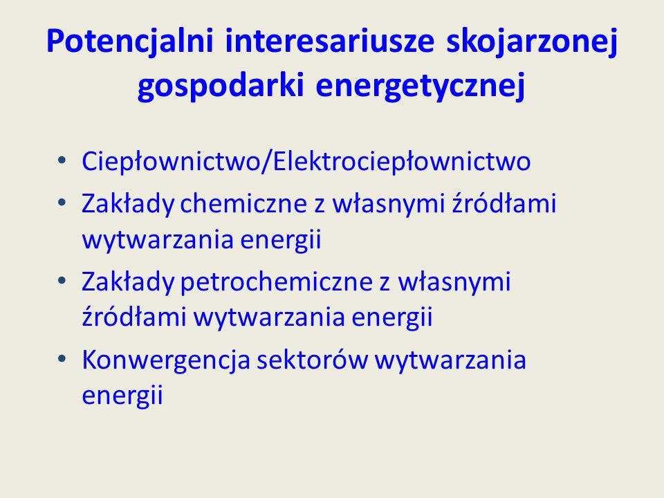 Potencjalni interesariusze skojarzonej gospodarki energetycznej Ciepłownictwo/Elektrociepłownictwo Zakłady chemiczne z własnymi źródłami wytwarzania e