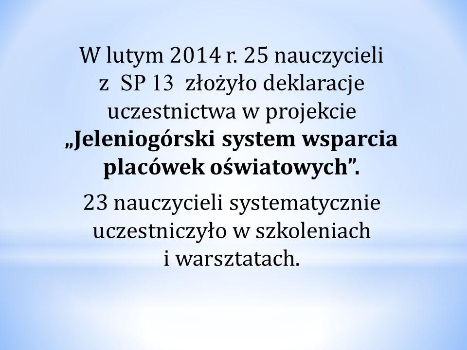 """W lutym 2014 r. 25 nauczycieli z SP 13 złożyło deklaracje uczestnictwa w projekcie """"Jeleniogórski system wsparcia placówek oświatowych"""". 23 nauczyciel"""