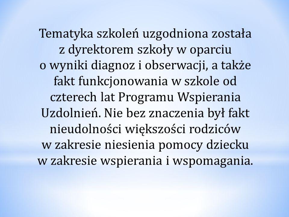 Tematyka szkoleń uzgodniona została z dyrektorem szkoły w oparciu o wyniki diagnoz i obserwacji, a także fakt funkcjonowania w szkole od czterech lat