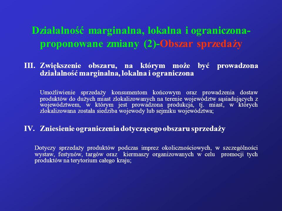 Działalność marginalna, lokalna i ograniczona- proponowane zmiany (2)-Obszar sprzedaży III.Zwiększenie obszaru, na którym może być prowadzona działaln