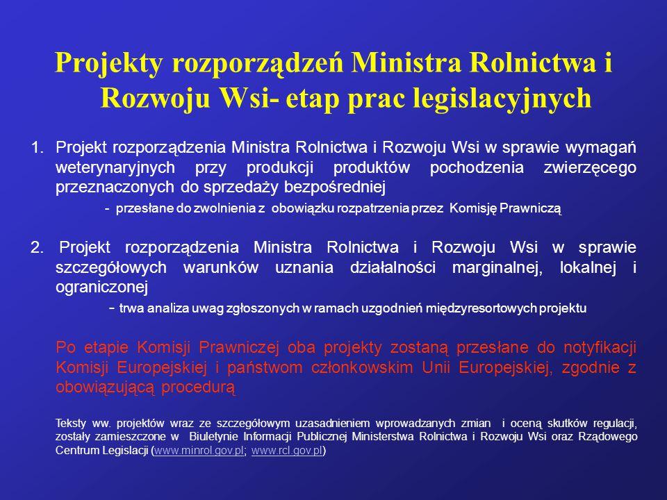 Projekty rozporządzeń Ministra Rolnictwa i Rozwoju Wsi- etap prac legislacyjnych 1.Projekt rozporządzenia Ministra Rolnictwa i Rozwoju Wsi w sprawie wymagań weterynaryjnych przy produkcji produktów pochodzenia zwierzęcego przeznaczonych do sprzedaży bezpośredniej - przesłane do zwolnienia z obowiązku rozpatrzenia przez Komisję Prawniczą 2.