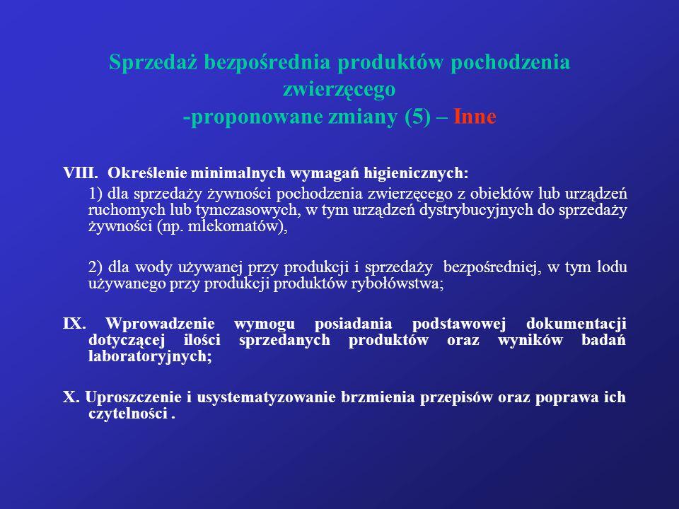 Sprzedaż bezpośrednia produktów pochodzenia zwierzęcego -proponowane zmiany (5) – Inne VIII. Określenie minimalnych wymagań higienicznych: 1) dla sprz
