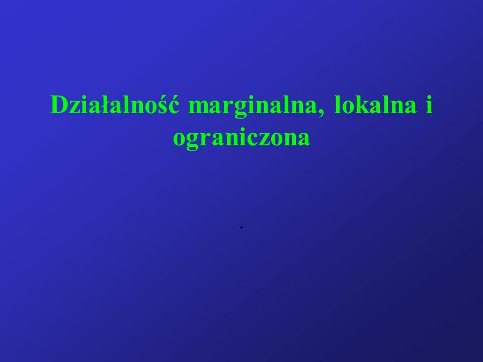 Działalność marginalna, lokalna i ograniczona.