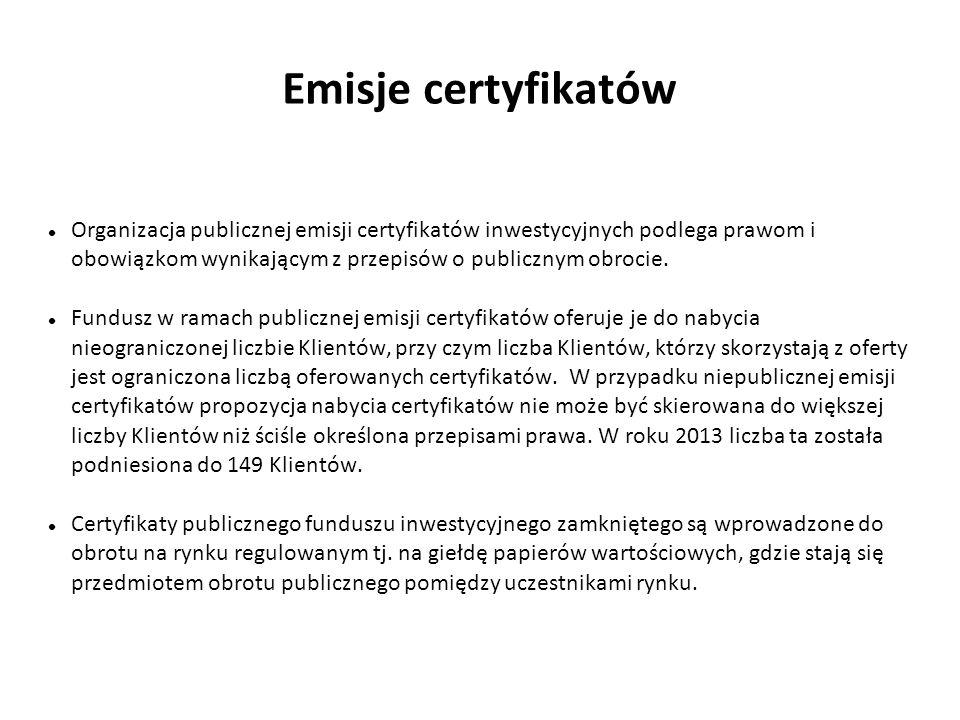 Emisje certyfikatów Organizacja publicznej emisji certyfikatów inwestycyjnych podlega prawom i obowiązkom wynikającym z przepisów o publicznym obrocie