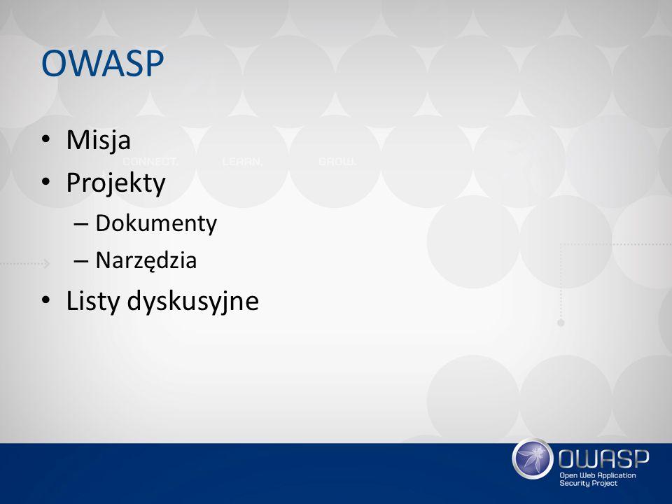 OWASP Misja Projekty – Dokumenty – Narzędzia Listy dyskusyjne