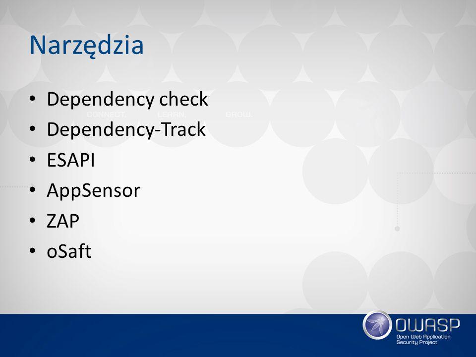 Narzędzia Dependency check Dependency-Track ESAPI AppSensor ZAP oSaft