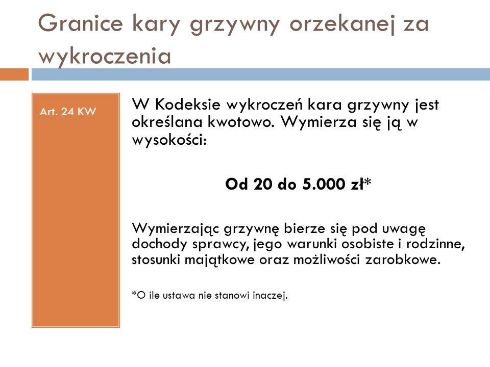 Granice kary grzywny orzekanej za wykroczenia Art. 24 KW W Kodeksie wykroczeń kara grzywny jest określana kwotowo. Wymierza się ją w wysokości: Od 20