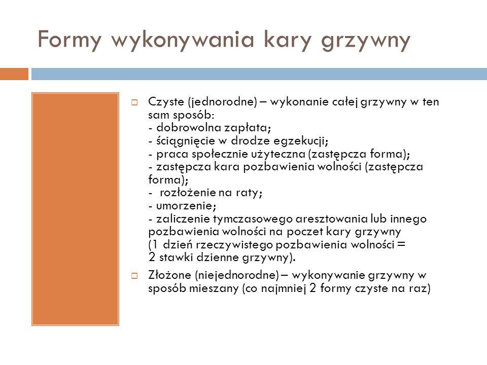 Formy wykonywania kary grzywny  Czyste (jednorodne) – wykonanie całej grzywny w ten sam sposób: - dobrowolna zapłata; - ściągnięcie w drodze egzekucj