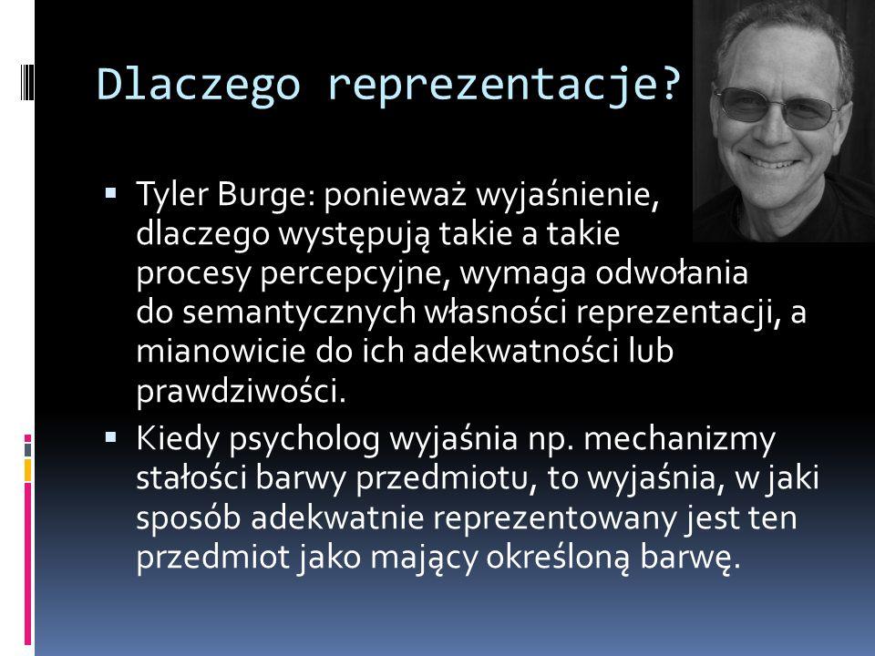 Dlaczego reprezentacje?  Tyler Burge: ponieważ wyjaśnienie, dlaczego występują takie a takie procesy percepcyjne, wymaga odwołania do semantycznych w