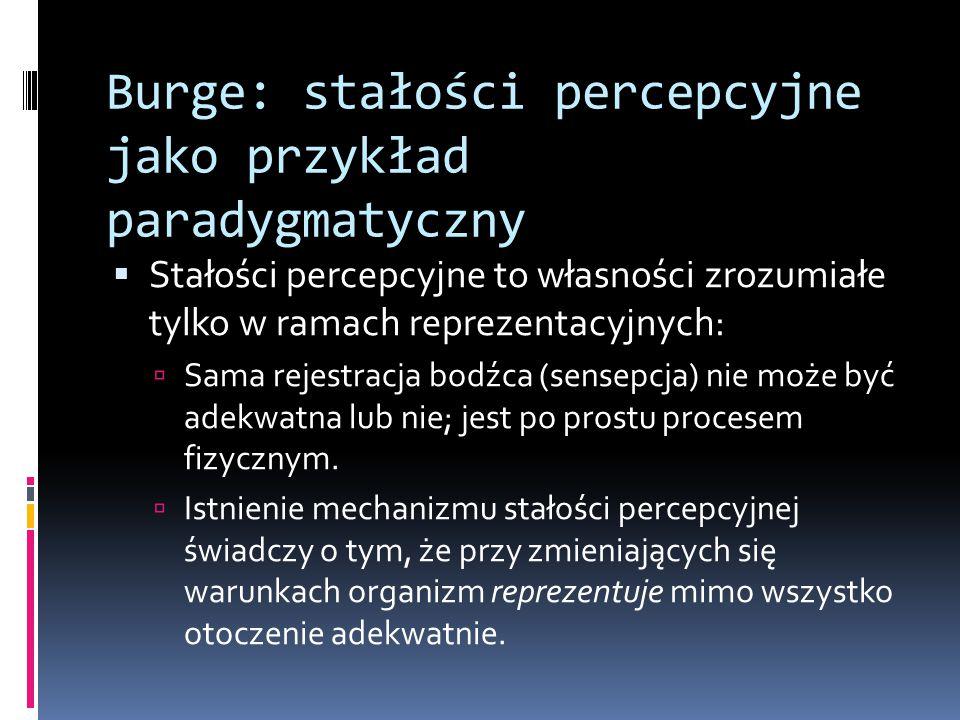 Burge: stałości percepcyjne jako przykład paradygmatyczny  Stałości percepcyjne to własności zrozumiałe tylko w ramach reprezentacyjnych:  Sama reje