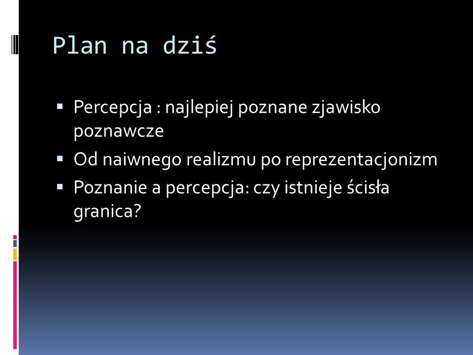 Plan na dziś  Percepcja : najlepiej poznane zjawisko poznawcze  Od naiwnego realizmu po reprezentacjonizm  Poznanie a percepcja: czy istnieje ścisł
