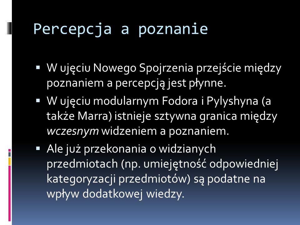 Percepcja a poznanie  W ujęciu Nowego Spojrzenia przejście między poznaniem a percepcją jest płynne.  W ujęciu modularnym Fodora i Pylyshyna (a takż