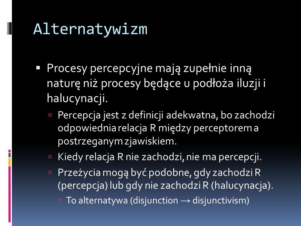 Alternatywizm  Procesy percepcyjne mają zupełnie inną naturę niż procesy będące u podłoża iluzji i halucynacji.  Percepcja jest z definicji adekwatn