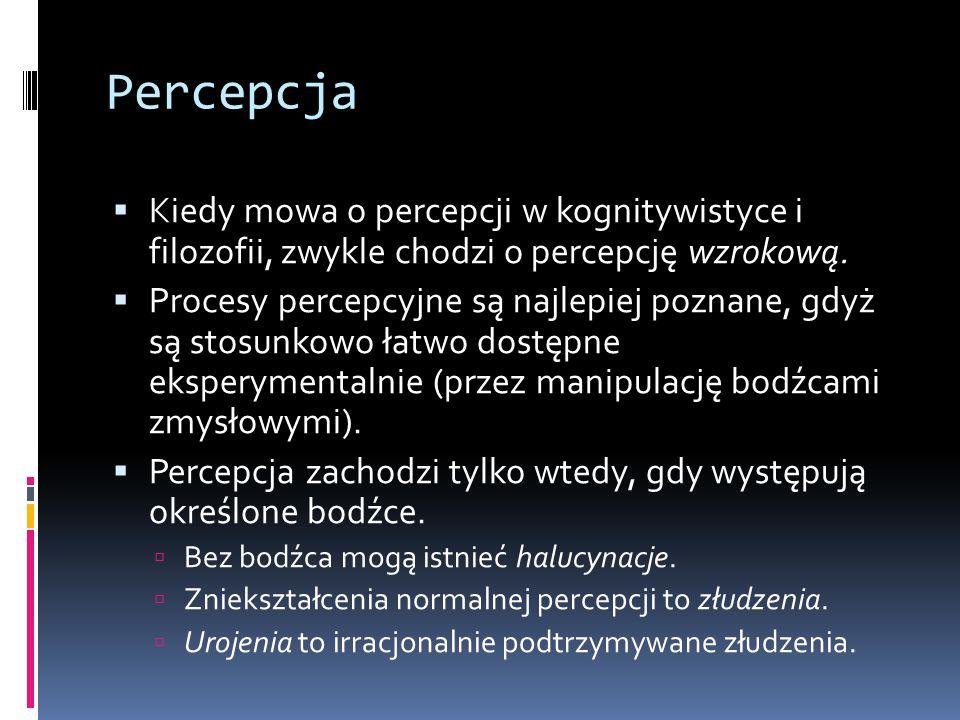 Percepcja  Kiedy mowa o percepcji w kognitywistyce i filozofii, zwykle chodzi o percepcję wzrokową.  Procesy percepcyjne są najlepiej poznane, gdyż