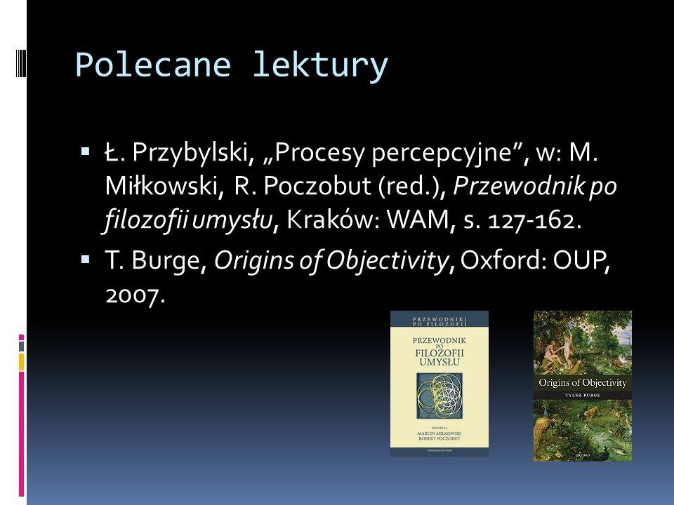 """Polecane lektury  Ł. Przybylski, """"Procesy percepcyjne"""", w: M. Miłkowski, R. Poczobut (red.), Przewodnik po filozofii umysłu, Kraków: WAM, s. 127-162."""